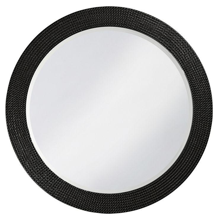 """Howard Elliott Lancelot Black Round Mirror 42"""" Diameter x 1"""""""
