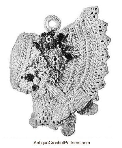 Vintage Easter Bonnet Potholder -  crochet free pattern