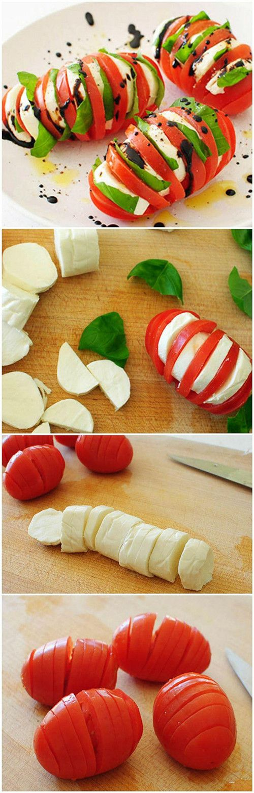 Hasselback Tomato Caprese - One of my all time favorite Summer eats! They're even better if you wrap in foil and grill for 10 mins! The tomatoes become much sweeter!~GF Cheryl~