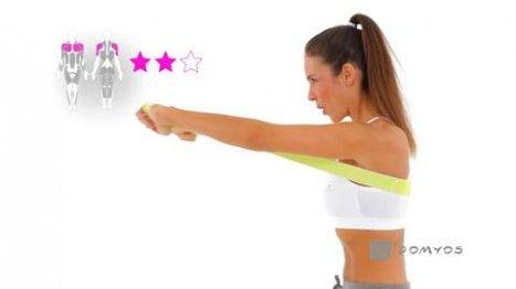 Vidéo d'exercice avec votre Elastiband Domyos, Travaillez les muscles de votre poitrine et vos triceps.