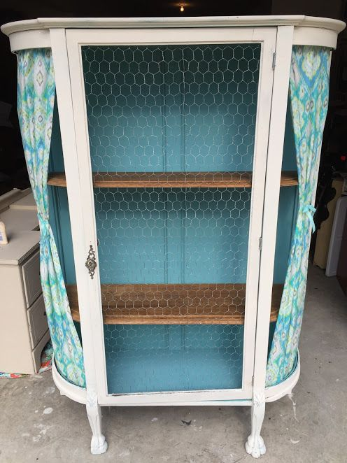 Chalk Painted Curio Cabinet With Chicken Wire.