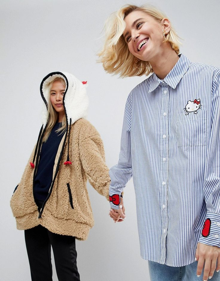 Hello Kitty X ASOS Stripe Shirt With Pocket And Cuff Embroidery - Mult