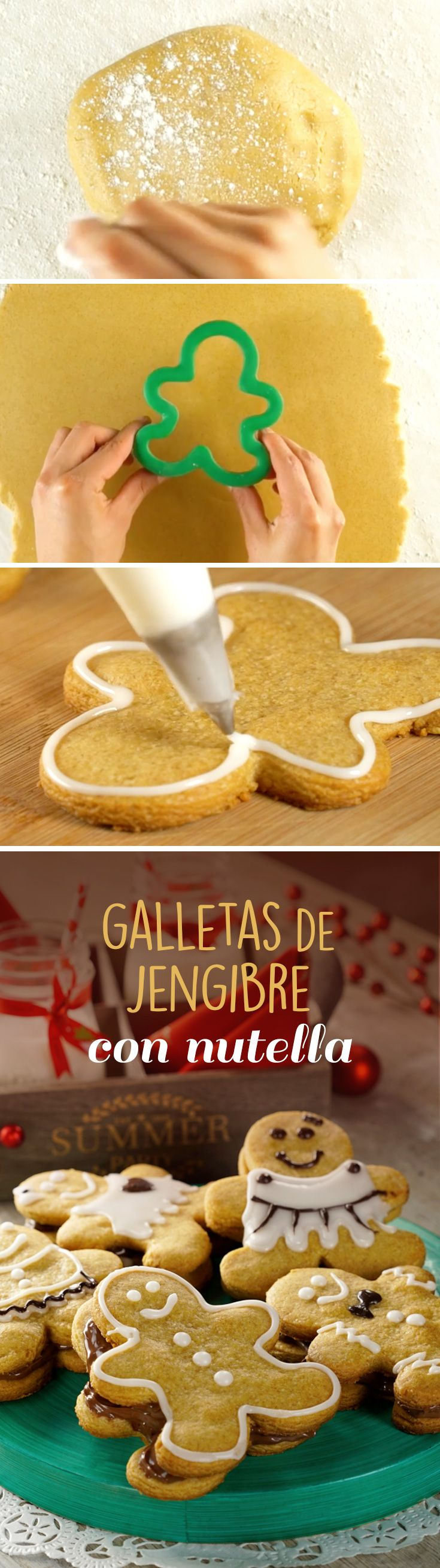 Rellena tus galletas de hombre de jengibre con Nutella para darle un toque súper rico en Navidad