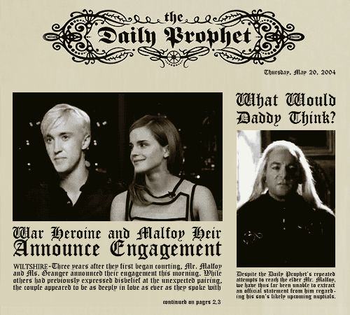 Dragon Malfoy Are Hermione Granger Says Married One Dragon Malfoy's Father Hear the