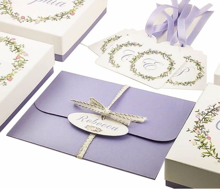 Purple Bridal Shower gift ideas | See more on https://dressyourgift.myshopify.com/ See more here: https://dressyourgift.myshopify.com/collections/bridesmaids-set/products/copy-of-set-of-bridesmaid-gift-boxes-plus-bridesmaid-tags-and-tri-folded-a2-bridesmaid-proposal-card-will-you-be-my-bridesmaid-set-1