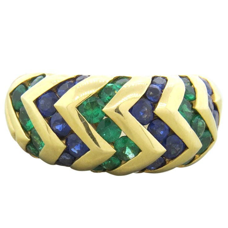 bulgari spiga sapphire emerald gold dome ring