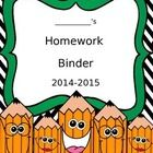 Don't reinvent the wheel. Check out this free homework binder cover. Just print and slip in your student's homework binders....