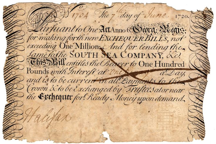South Seas Bubble - From Aug. 31 to Oct. 1, 1720, the share price of the South Sea Company, which had taken on England's war debt, crashed from 775 British pounds to 290.