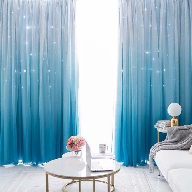 Stars Blockout Curtains In Blue Gradient Design Curtains Living