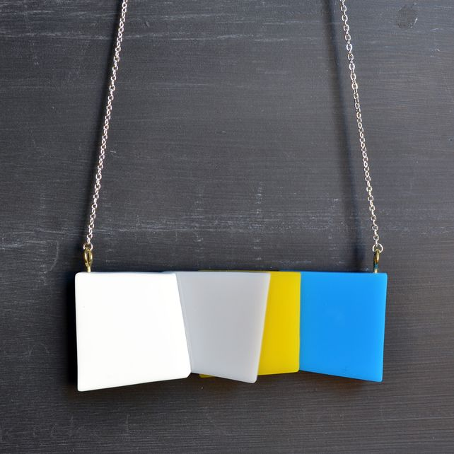 Perspex Abstract Geometric Squares Necklace Folksy £20