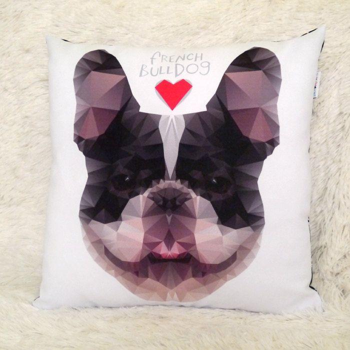 Decorative Pillow I love French Bulldog by PSIAKREW on Etsy