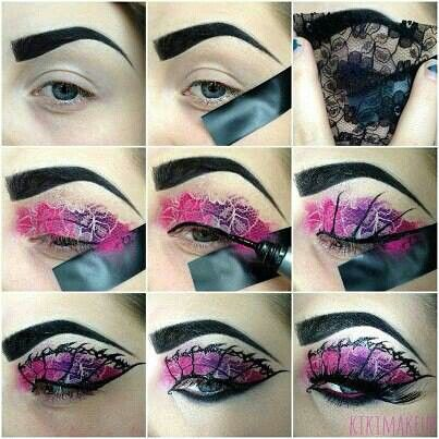 DIY eyeshadow with lace