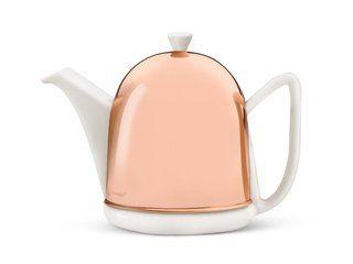"""99,95 € - Die """"Cosy Manto"""" Kanne von Bredemeijer kombiniert Keramik mit Edelstahl - der dekorative Edelstahlmantel (kupferfarben) über der Keramikkanne ist mit einer isolierenden Innenverkleidung ausgestattet und sorgt für ein hervorragendes Geschmackserlebnis und heißen Tee für mehrere Stunden."""