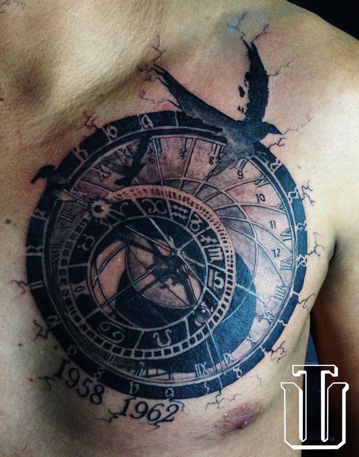 Astronomical Clock Tattoo: Crows, Astronomical Clock.