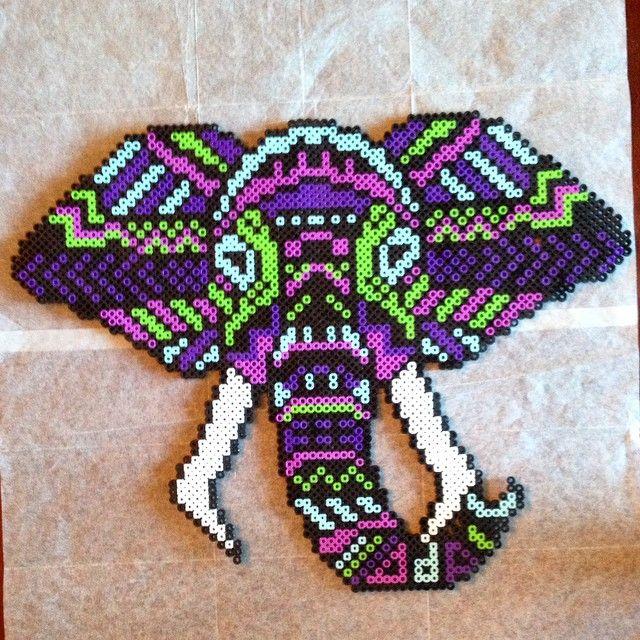 Wayuu Mochila pattern Tribal elephant perler beads by jsminnie7