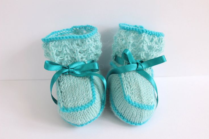 Baby Booties, Blue Booties, Traditional, Baby Shoes, Hand Knit Booties, Baby Shower, Cute Booties, Pram Shoes, Crib Shoes by Pinknitting on Etsy
