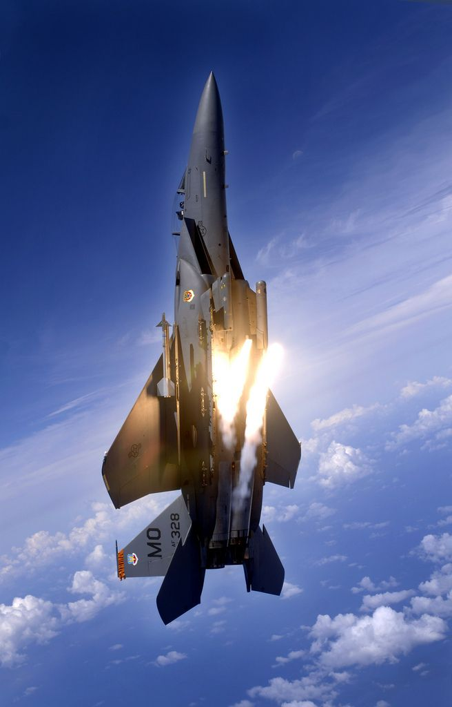 An F-15E Strike Eagle from the 391st Expeditionary Fighter Squadron pops flares during an aerial training dog fight. The 391st EFS are deployed in Guam from Mountain Home Air Force Base, Idaho, on a rotational basis supporting the U.S. Air Force's continued presence in the Western Pacific. (U.S. Air Force photo/Technical Sgt. Cecilio Ricardo) via Flickr