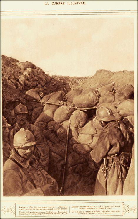 WWI, Oct 1916; French and German soldiers at close distance. - La Guerre Illustrée, via Gallica
