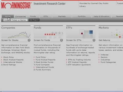 CCPL's Morningstar Overview Tutorial.  This tutorial is made possible by a grant from the FINRA Investor Education Foundation through smartinvesting@your library®, a partnership with the American Library Association.