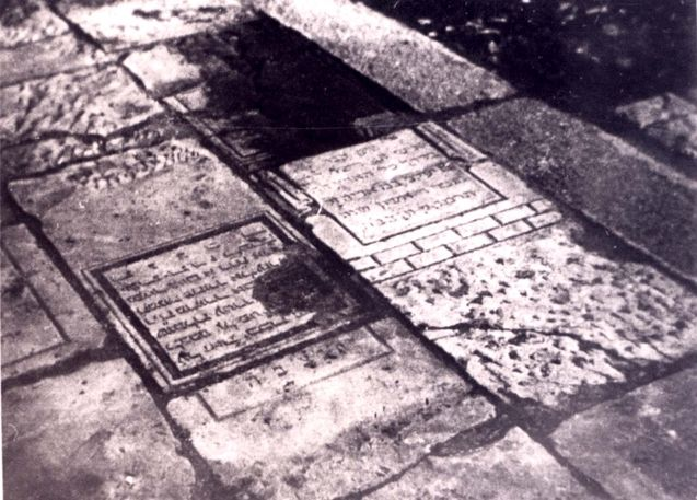 jewish gravestones used for paving radom poland jews