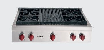"""Wolf 36"""" Sealed Burner Rangetop - traditional - cooktops - grand rapids - by Sub-Zero and Wolf"""