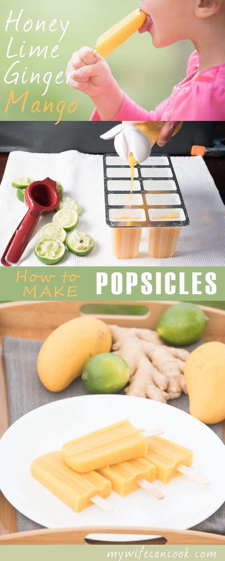 Homemade popsicles are super easy to do and what kid doesn't love popsicles as a warm weather treat? Sure, you can buy them at the store, but you're giving up control of the ingredients. We make lots of homemade fruit popsicles; it's a great way to get your kids excited about working in the kitchen. We're about to give you all the basics on how to make homemade popsicles (including our favorite popsicle molds). We'll even show you one of our new favorites: honey, lime, ginger mango…