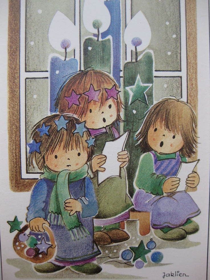 We wish you a Merry Christmas, big vintage doll postcard by Jaklien.