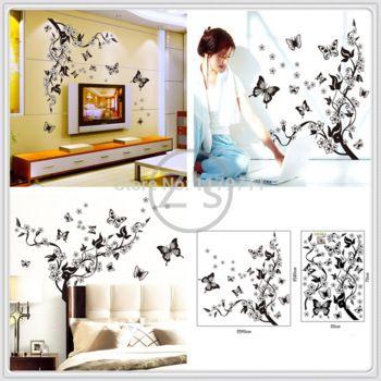 vlinder bloemen zwarte bloem wijnstok muursticker home decor diy lijm kunst muurschildering foto poster verwijderbare vinyl ay7005