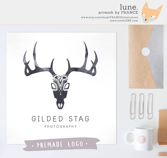 Premade Logo: Watercolor Stag. Customizable by FRANCEillustration