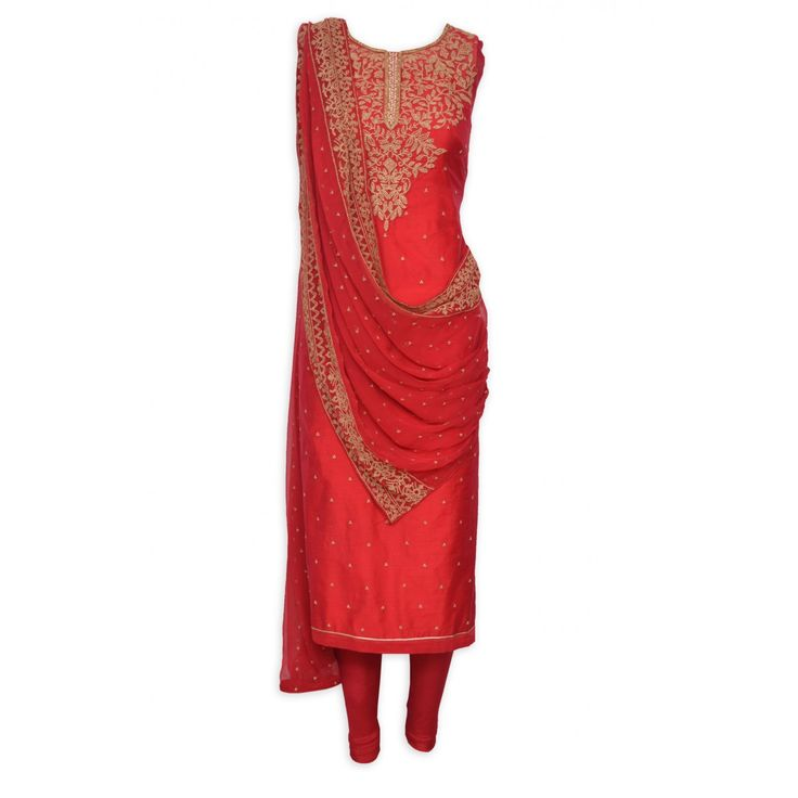 Elegant red semi stitched suit adorn in zari work-Mohan's the chic window