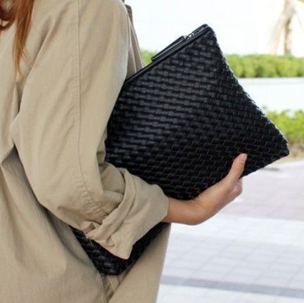 Kpop Fashion knitting women's clutch bag PU leather women envelope bags clutch evening bag Clutches Handbags black