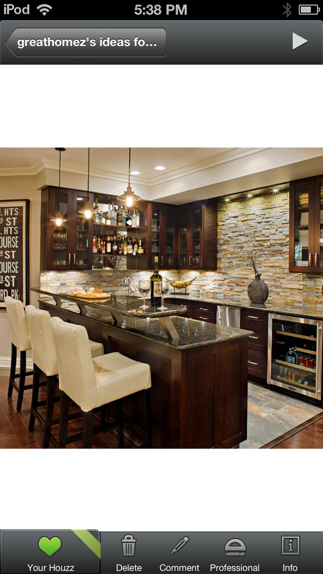 Basement bar brick not stone on a smaller scale of for Basement finishing design software