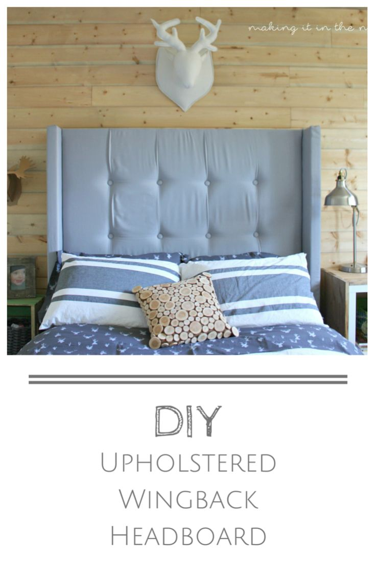 LOVE that classic look of an upholstered headboard, but not crazy about the price?  You'll never believe how easy it is to make your own DIY Upholstered Wingback Headboard for just a fraction of that cost!