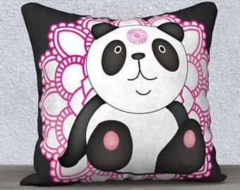 Coussin housse, taies d'oreiller,panda, coussins, housses de coussin, oreillers décoratifs, chakras, panda, ourson