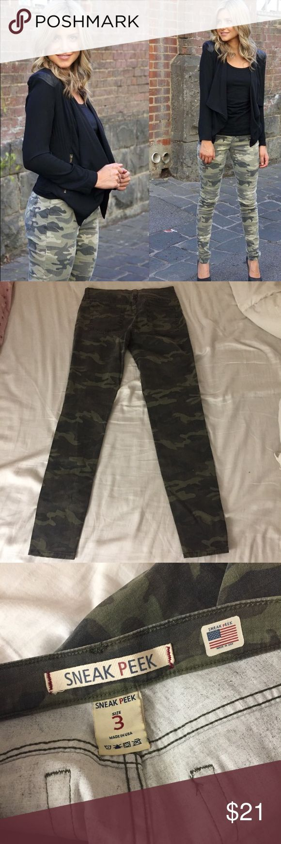 Like new camo sneak peak skinny jeans-3 Only worn once for pictures.  Sneak peak camo skinny jeans size 3.  First pic is the same style jeans but in a lighter color. Vanity Jeans Skinny