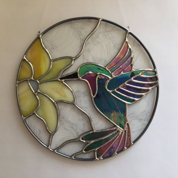Stained glass hummingbird and flower suncatcher, hummingbird ornament by FoxStainedGlass on Etsy