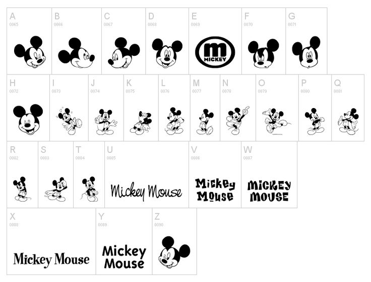 Mickey Mouse WingDing / Dingbat Font
