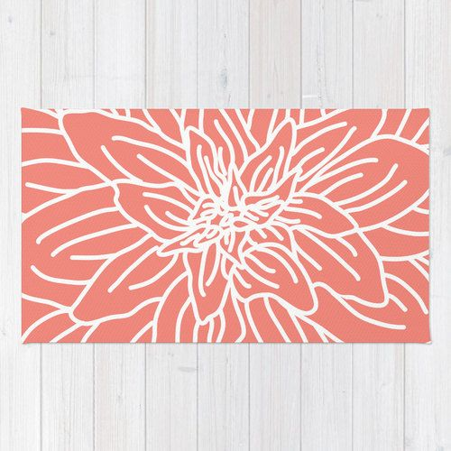 Coral abstract flower area rug modern flower rug coral for Tapis vert turquoise