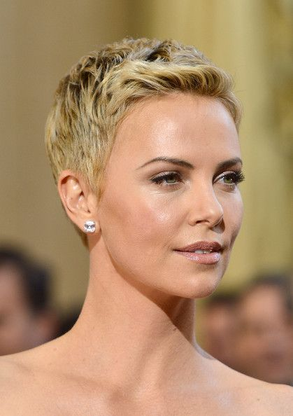Short Hairstyles Lookbook: Charlize Theron wearing Pixie (50 of 86). Charlize Theron's bottle-blond pixie exuded modern femininity at the 2013 Oscars.