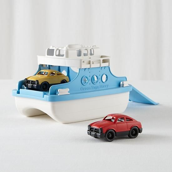 Need to navigate your toys safely across the bathtub? This chunky ferry is ready to ship out. Its upper deck and lower level are spacious enough to hold not only the two included mini cars, but plenty of other toys, too. Plus, it's made from 100% recycled plastic, so it's as eco-friendly as it is kid-friendly.