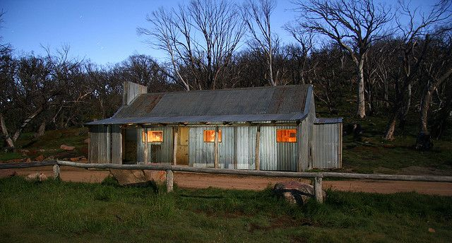 The rebuilt Bluff Hut in Alpine National Park, Northeast Victoria,
