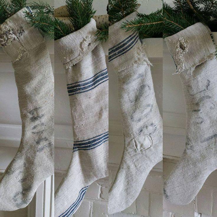 coming soon to my RusticFarmhouseWares etsy shop!~my handmade grainsack stockings!