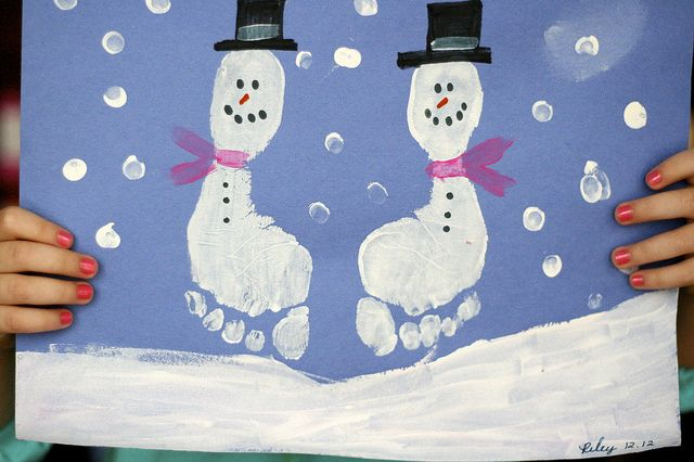 Snowman footprint craft and other winter activities for toddlers