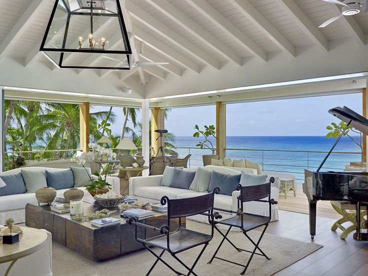 The Dream Barbados - The interiors of the gorgeous chic sitting room have been carefully selected to provide wonderful sophistication together with extreme relaxation. There are some beautiful contemporary artworks and the furnishings are quiet yet luxurious – cashmere, silk suede, marble and leather. This beautiful room also features a grand piano. The doors can be pushed back to give a feeling of space and openness.