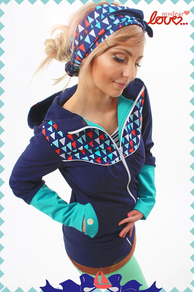 "Softshell Jacket ""Bella"" Marine triangles Turquois"
