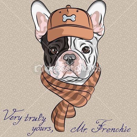 Вектор смешной мультфильм битник собака породы Французский бульдог — стоковая иллюстрация #36913975