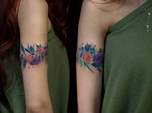 çiçekli kadın kol dövmeleri colorful floral arm tattoo for woman