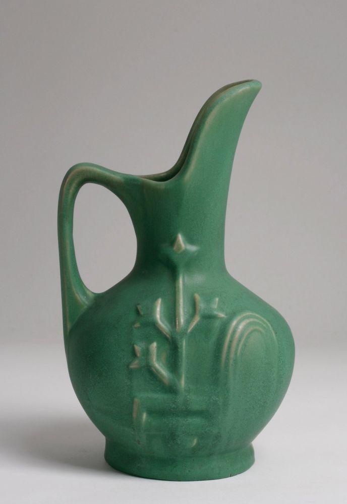 American Matte Green Pottery Vase-Pitcher / Arts & Crafts-Roseville-Weller-Teco