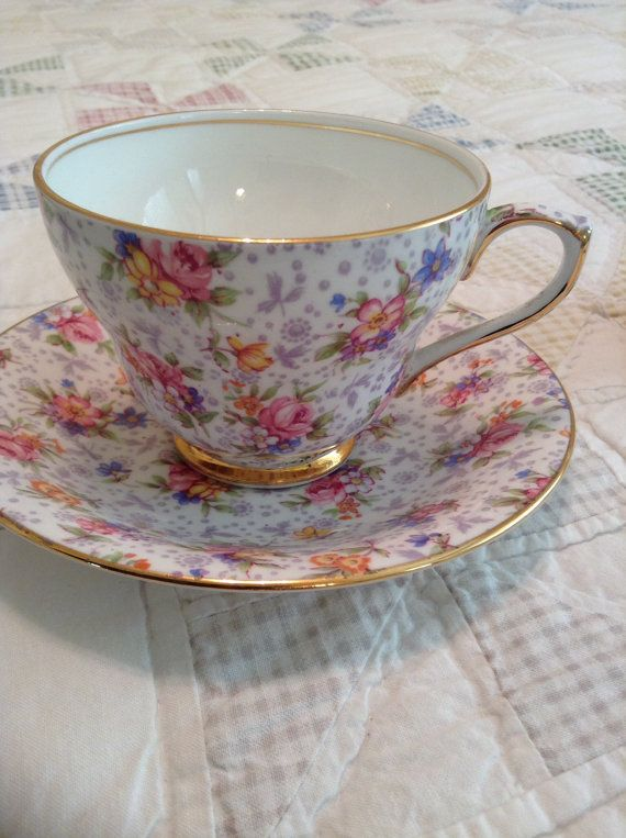 Royal Winton Eleanor Teacup and Saucer - Mothers Day Teacup - English Bone China - Eleanor - Royal Winton Chintz Teacup - Grimwades -