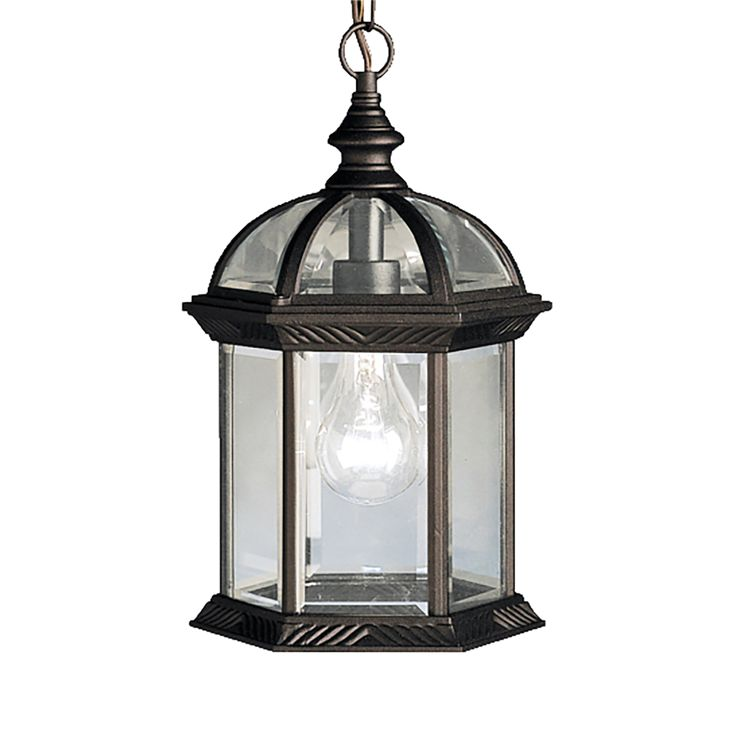 Kitchler hanging porch exterior light in black painted level 1